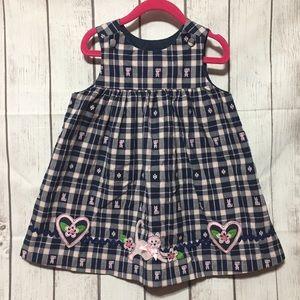 Plaid Dress Toddler 3T Blue Pink Jumper Kitty Cat